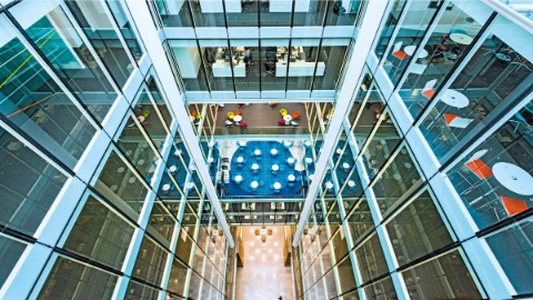 Look down atrium and offices of One Snowhill